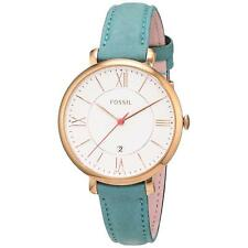 NEW Fossil ES4149 Jacqueline Silver Dial Teal Leather Strap Women's Watch