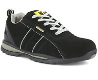 MENS SAFETY TRAINERS LADIES WORK STEEL TOE CAP HIKER BOOTS ANKLE BLACK SHOES SZ