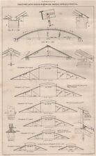 Wrought iron roofs for work sheds, covered ways &c. Buildings 1867 old print