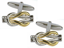 Unique Wishlist Rhodium & Gold Plated Love Knot Design Cufflinks 909017