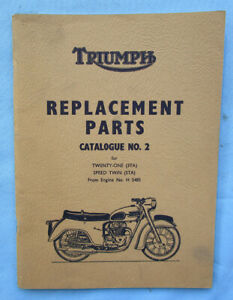 TRIUMPH SPEED TWIN TWENTY ONE MOTORCYCLE MANUAL PARTS BOOK/CATLOG 1959 350/500cc