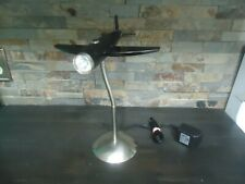 VINTAGE BLACK BAKE LITE AIRPLANE-RARE LAMP DECOR-HOME DECOR-1980-BENDABLE