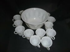 Hazel Atlas Milk Glass Punch bowl set 12 footed cups thumbprint oval design