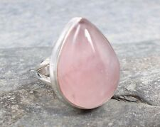 925 Silver PINK ROSE QUARTZ Ring Sz O-7 R876~Silverwave*uk Jewellery