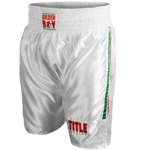 Title Boxing Golden Boy Lightweight Boxing Trunks - XL - White/Red/Green