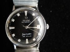 VINTAGE OMEGA SEAMASTER DE VILLE MEN'S AUTOMATIC SS BLACK 17 DIAMONDS DIAL WATCH