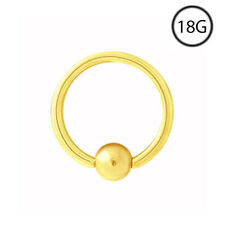 14Kt Gold Captive Bead Nose Ring Septum Hoop 5/16 18G