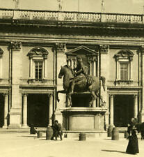 Italy Roma Statue of Marcus Aurelius old NPG Stereo Photo 1900
