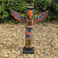 More details for superb totem pole 65cm hand carved wooden painted native american man cave