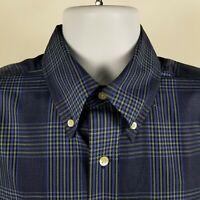 Bill Khakis Classic Fit Mens Blue Plaid Check L/S Dress Button Shirt Sz Large L