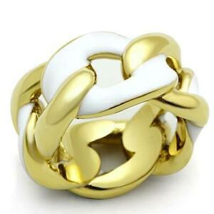 Ladies gold ring band 18kt yellow steel white enamel chain link no stone 12m1369