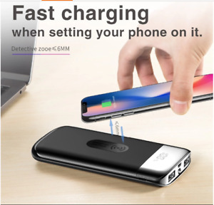 Qi Wireless Charger Power Bank 30000m Ah 2USB LED Battery Charger iPhoneAndroid