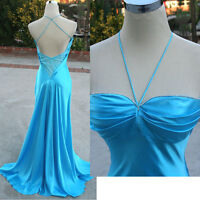 NWT CLARISSE $225 AQUA Silk Prom Evening Formal Gown 4