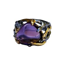 Luxury Retro Natural Amethyst 2 color ring open size 43ct S925 sterling silver