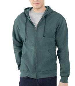 Fruit of the Loom Hooded Sweatshirt Hoodie Jacket Full Zip SMALL Teal Green