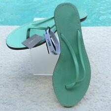 New JCrew Leather Flip Flops Women's Sz 7 Mint Green Capri Beach Flat Sandal $50