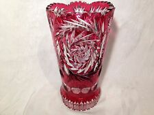 Bohemian Czech Cut Glass-Cranberry Red-Cut To Clear Large Vase-Stunning!!!!!!!!!