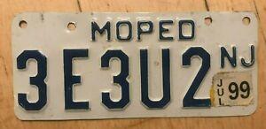 "1999 NEW JERSEY MOPED MOTORCYCLE CYCLE LICENSE PLATE "" 3E3U2 "" NJ  3E 3 U2"