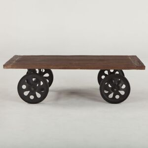 """64"""" L Coffee Table Recycled Hand Crafted Hardwood Large Reclaimed Iron Wheels"""