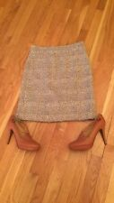 J CREW CREAM/ BROWN TWEETED A-LINE SKIRT SIZE 0