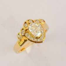 CUBIC ZIRCONIA RING GENUINE 9K 375 9CT REAL GOLD DRESS COCKTAIL RING SIZE N NEW