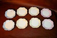 Antique Set of 8 Fine European Porcelain & Gilt Decorative Sandwich Plates