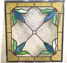 stained glass window; lead glass window -4 pcs- LEAF