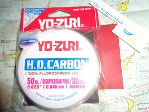 YO-ZURI FLUOROCARBON 50LB NEW 30 YARD SPOOL YO-ZURI DISAPPEARING PINK LEADER