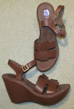 Korks Kork-Ease Brown Leather Wedge Heel Sandals Size 8 NEW