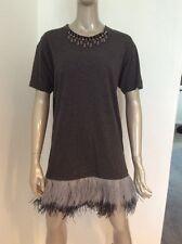 LANVIN Runway 2015 Ostrich Feather Embellished T-Shirt Dress jersey Medium Gray