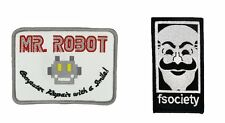 MR Robot FSOCIETY TV Show Embroidery SET of 2 patches White Easy Iron/Sew On