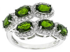 Natural Russian Chrome Diopside and  white Topaz By Pass Sterling Silver Ring