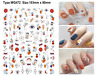 Abstract Geometric Figure Eyes Totem Polka Dot Woman with Flower 3D Nail Sticker