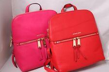 Michael Kors Rhea Medium Slim Leather Backpack - Ultra Pink, Bright Red, Maroon