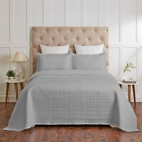Renee Taylor Madrid 100% Cotton Quilted Coverlet Set King & Queen Grey
