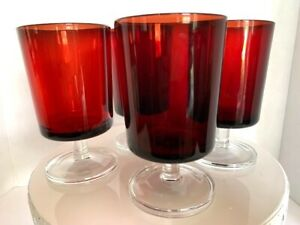 4 Vintage Ruby Red Glasses Wine Water Glasses Arcoroc France Large 10-oz