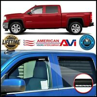 For 2014-2019 GMC Sierra Crew Cab In Channel Window Vent Visors Deflectors Shade