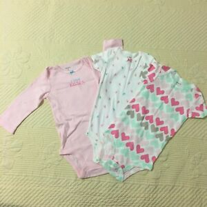 Carters Baby Boys Infants 9 Months 3 Pieces Bodysuits Pink White Green #31