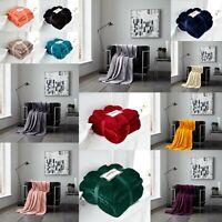 Super Soft Flannel Velvet Feel Throw Blanket Sofa Bed Warm Non Allergic