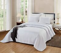 3 Piece CAL KING Size Catena Quilt Set Solid White Microfiber Bedspread Coverlet