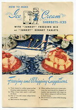 """1942 Vintage """"JUNKET"""" Brochure: """"How To Make Ice Cream Sherbets-Ices"""""""