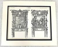 1903 Antique Print Louis XIII French Architecture Ornate Fireplace Chimney