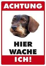 Achtung Hund Dackel Rauhaardackel Blechpostkarte Blechschild 10,5 x 14,8 cm