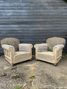 Pair of Stripped Howard Style Victorian Country House Armchairs Horsehair