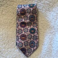 Liberty of London Men's Neck Tie Multi-Color Medallions 100% Silk