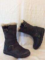 Girls John Lewis Dark Grey Leather Boots Size 12