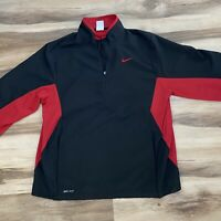 Nike Dri Fit Black Red Golf Half Zip Pullover Top Jacket Men's Large Vented