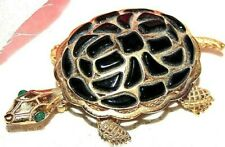 STUNNING CROWN TRIFARI SIGNED MOLDED GLASS TURTLE PIN - EXCELLENT!!!