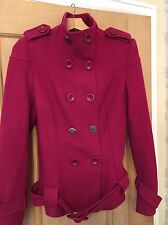 Ladies Cerise Pink Jumpo Wool Mix Military Look Short Jacket Coat Size 14
