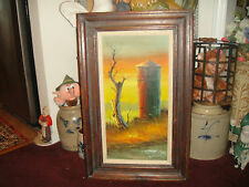 Superb Everett Woodson Oil Painting On Canvas-Barn Silo & Tree-Signed-Country